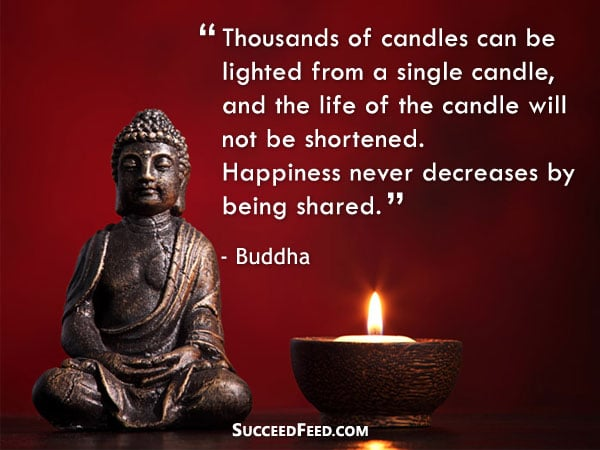 Buddha Quotes - Happiness never decreases by being shared