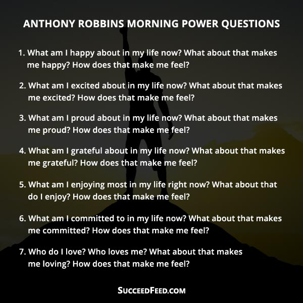 Anthony Robbins Morning Power Questions